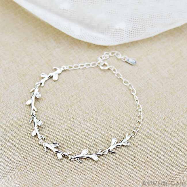 Creative Forest Style Leaves Branch Silver Bracelet Lover Gift .