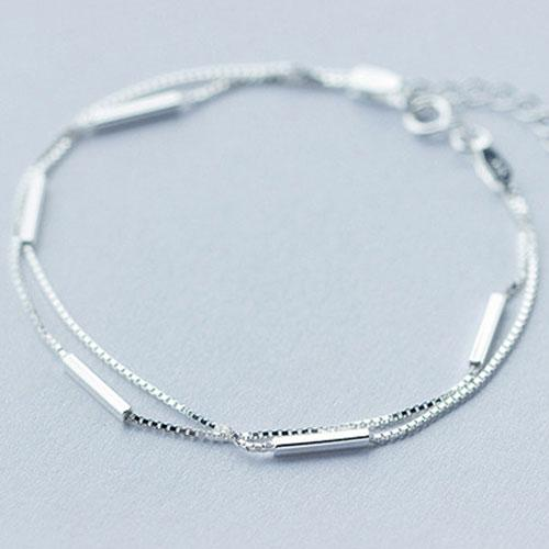 Silver Bracelet Layered Charm Bracelets Chain Bracelets Gift .