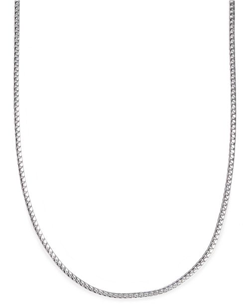 "Macy's 24"" Men's Franco Box Chain Necklace in Sterling Silver ."