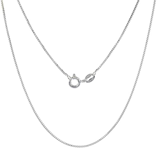 Amazon.com: Sterling Silver Box Chain Necklace 0.8mm Very Thin .