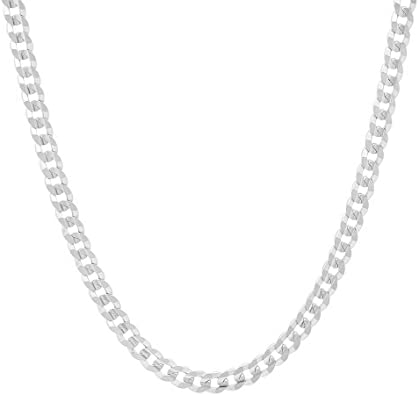 Men's 4mm Solid Sterling Silver .925 Curb Link Chain Necklace .