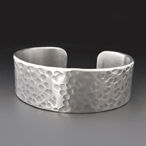 Men's 3/4 inch wide PERSONALIZED Hammered Silver Cuff Bracel