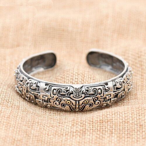 Men's 925 Sterling Silver Cuff Bracelet Mythical Animal Gluttony .