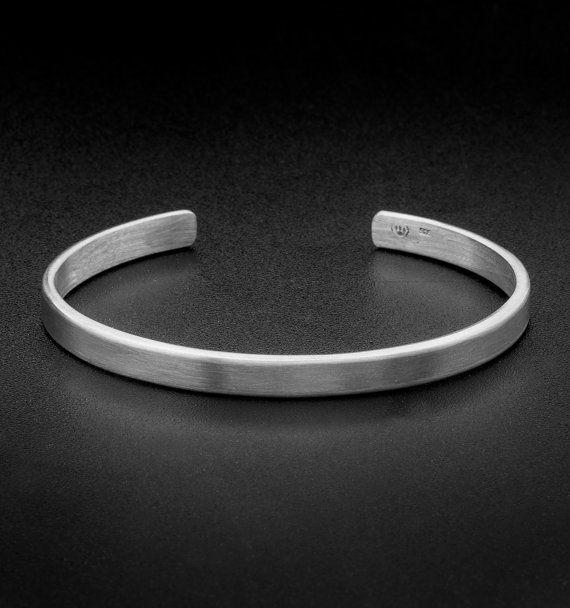 Sterling Silver Cuff Bracelet-5mm-Solid Silver Cuff-Grange | Mens .