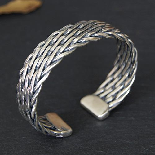 Men's Sterling Silver Wide Braided Cuff Bracelet - Jewelry1000.c