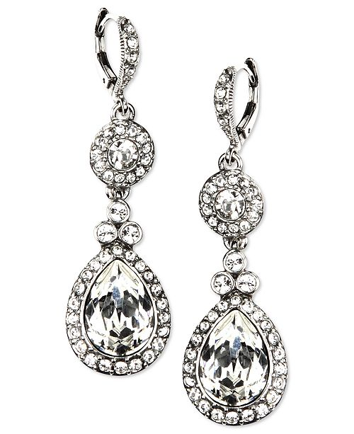 Givenchy Silver-Tone Swarovski Element Double Drop Earrings .
