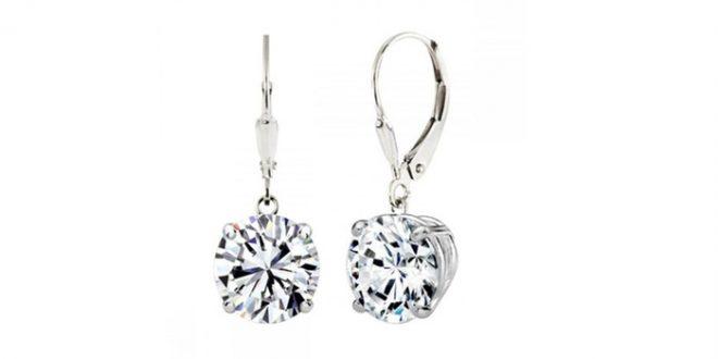 Sterling Silver 2.50 CTTW Swarovski Elements Crystal Drop Earrings .