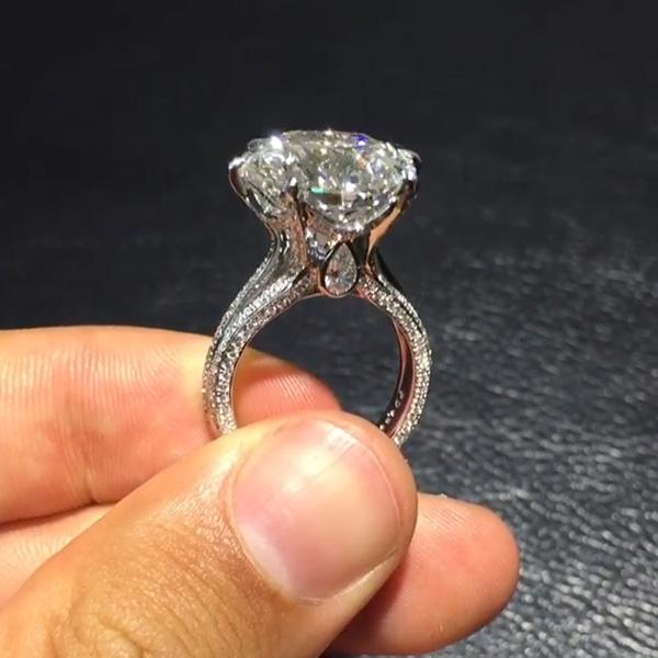 2.7CT Round Cut Sterling Silver Engagement Ring – OMOJEWEL