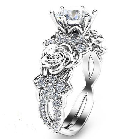 Created Moissanite Floral 925 Sterling Silver Engagement Ring .