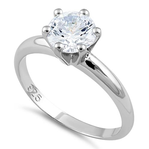 Sterling Silver Clear CZ Solitaire Engagement Ring – Dreamland Jewel