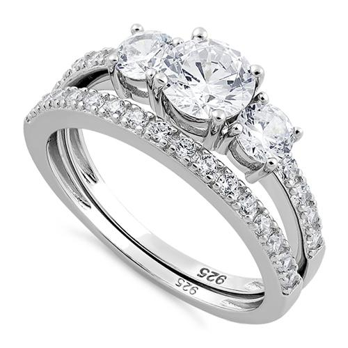 Sterling Silver Clear Engagement Set Ri
