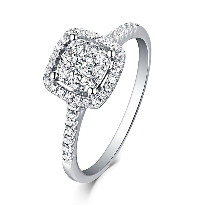 Round Cut White Sapphire 925 Sterling Silver Halo Engagement Rings .
