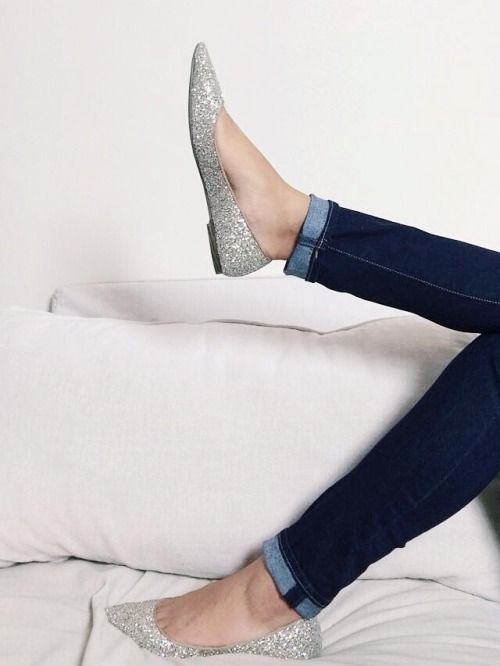 Silver glitter flats and dark denim. #fashion #outfit #inspiration .