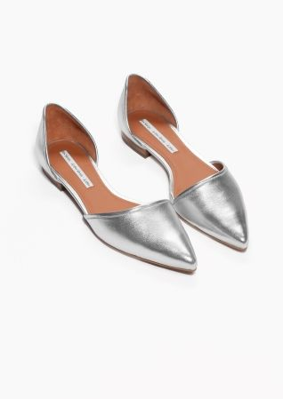 & Other Stories | Pointy Silver Flats | Prom shoes, Prom hee