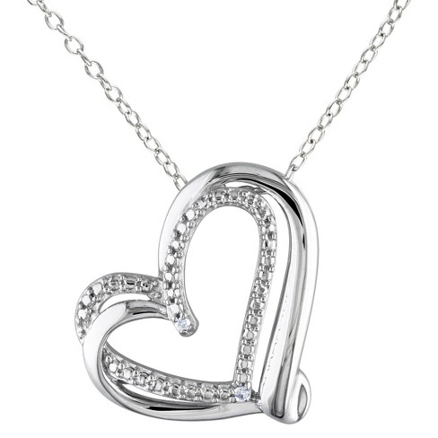 Women's Diamond Heart Pendant Necklace In Sterling Silver - Silver .