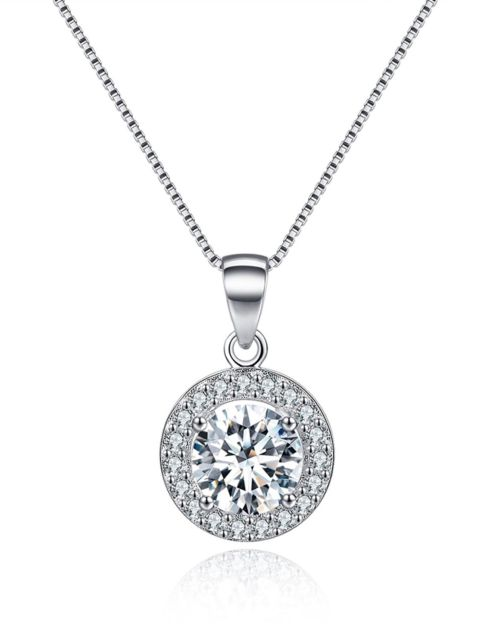 Sterling Silver Necklace for Women Halo Necklace Round Cubic .