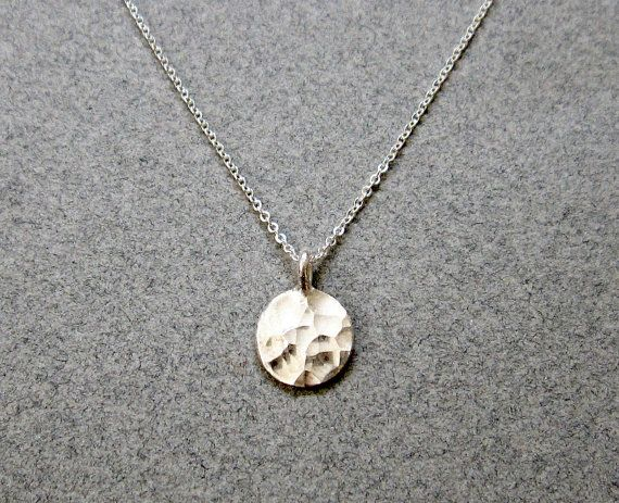 Sterling Silver Circle Necklace / Hammered Silver Disc Necklace .