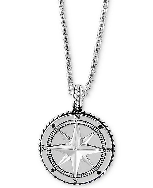 """EFFY Collection EFFY® Men's Compass 22"""" Pendant Necklace in ."""