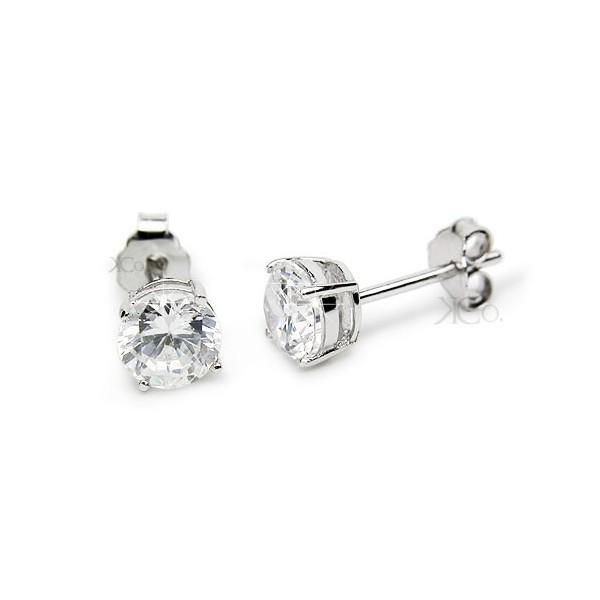 Sterling Silver CZ Stud Earrings -5mm - Kriskate & C