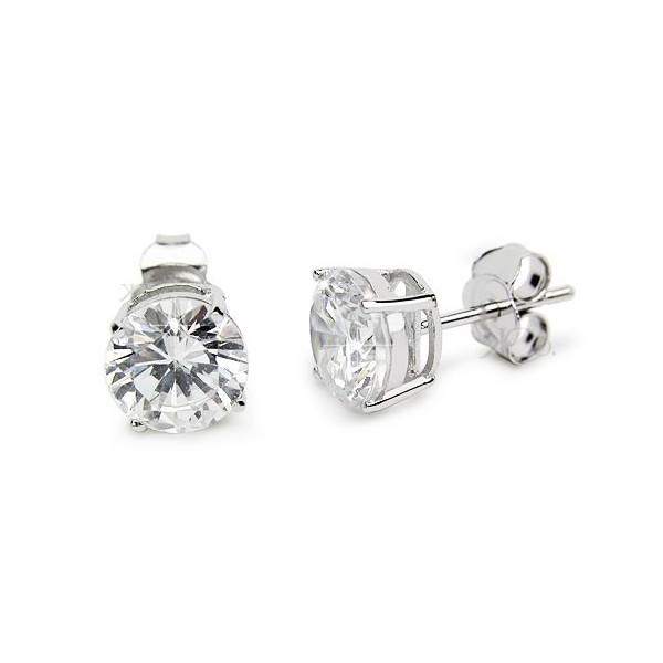 Sterling Silver CZ Stud Earrings -7mm - Kriskate & C