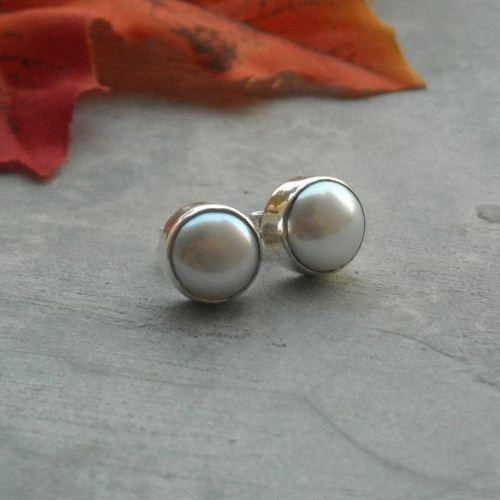 Buy White pearl stud earrings 10mm, freshwater pearl silver stud .