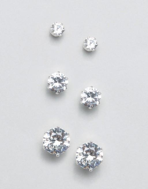 New Look 3 Pack Sterling Silver Stud Earrings | AS