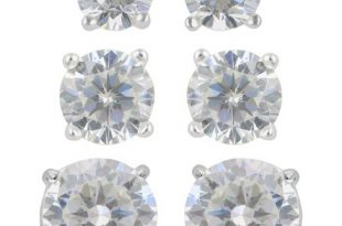 Women's Sterling Silver Stud Earrings Set Of 3 Post Round Cubic .