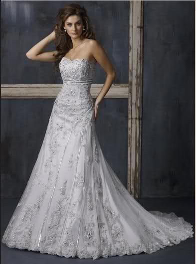 Wedding Dress with silver accents 1st view | Court train wedding .