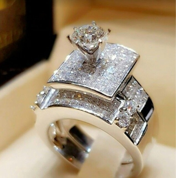 Exquisite Women's Fashion 925 Sterling Silver Wedding Rings Set .