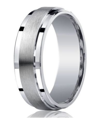 Mens Designer Silver Satin Wedding Ring | Polished Step Down Edg