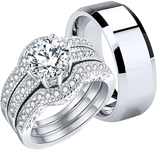 Amazon.com: MABELLA Couples Rings Her Cubic Zirconia Sterling .