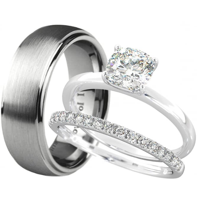 New His And Hers Tungsten /925 Sterling Silver Wedding Engagement .