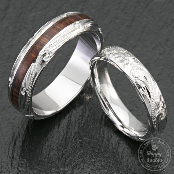 Pair of 4&6mm Sterling Silver Hawaiian Jewelry Couple/Wedding Rings