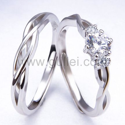 Expandable Matching Knots Silver Wedding Rings for 2 Personalized .