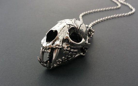 Large Cat Skull Necklace Stainless Steel // Unisex Animal Skull .