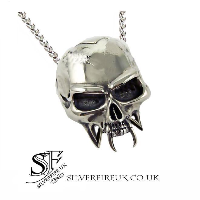 Vampire Skull Pendant, Biker Skull Necklace, Handmade Skull .