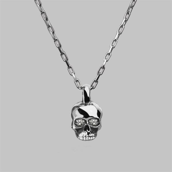 Small Skull Necklace - Silver & Diamond | Stephen Einho