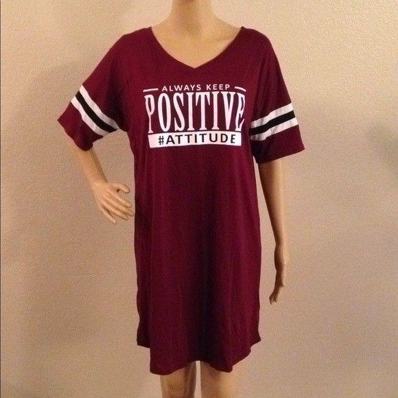 New Ladies AMBIANCE Sleep Shirt Always Keep Positive #Attitude .
