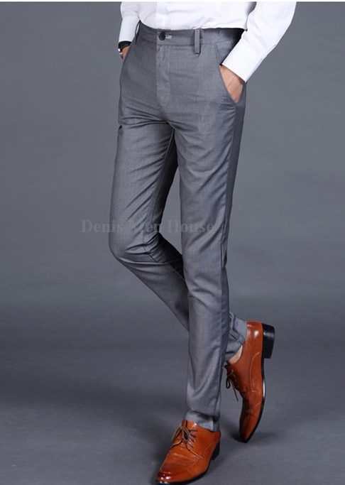 2018 Men Suit Pants Men's Slim Fit Dress Pants Office Trousers Men .
