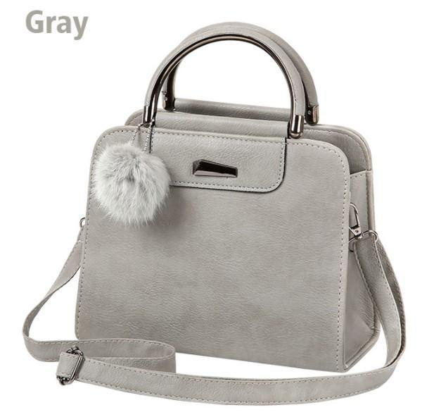 Casual Small Leather Handbag With Cute Pompom — Boots N Bags Heav