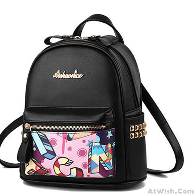 Cartoon Graffiti Rivet School Bag Cute Small Student Backpack .
