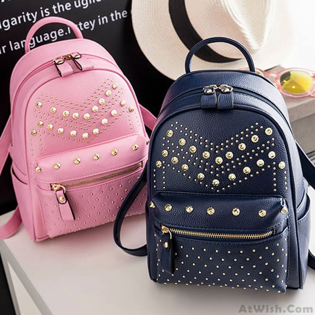 Punk Rivet Small Backpack School Bag PU Women Shopping Backpack .