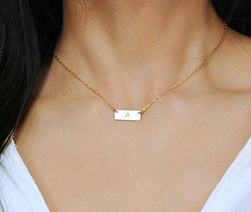 Amazon.com: Small 14K Gold Fill Bar Necklace, Personalized Minimal .