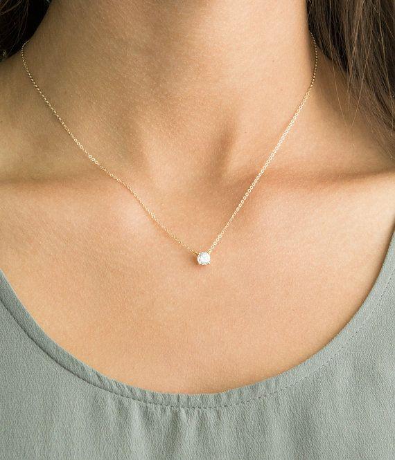 Delicate CZ Necklace - Tiny Diamond CZ Solitaire Pendant - Simple .