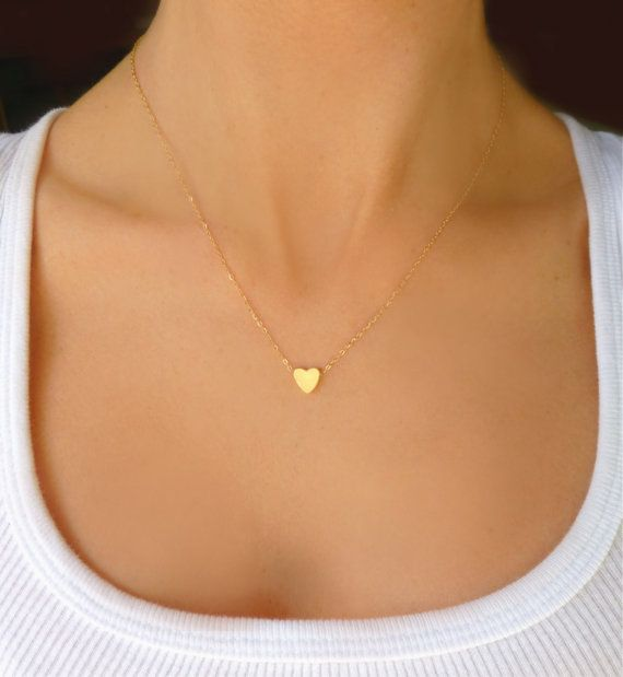 Tiny Gold Heart Necklace For Women, Small Heart Necklace .
