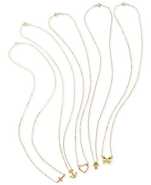 Macy's Teeny Tiny Pendant Necklace Collection in 10k Gold .