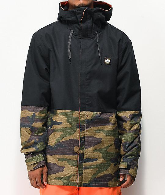 686 Foundation Camo & Black 10K Snowboard Jacket | Zumi