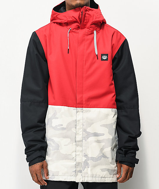 686 Foundation Snow Camo, Red & Black 10K Snowboard Jacket | Zumi