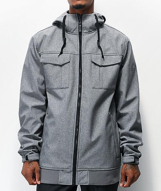 Empyre Blizzard Grey Softshell 10K Snowboard Jacket | Zumi