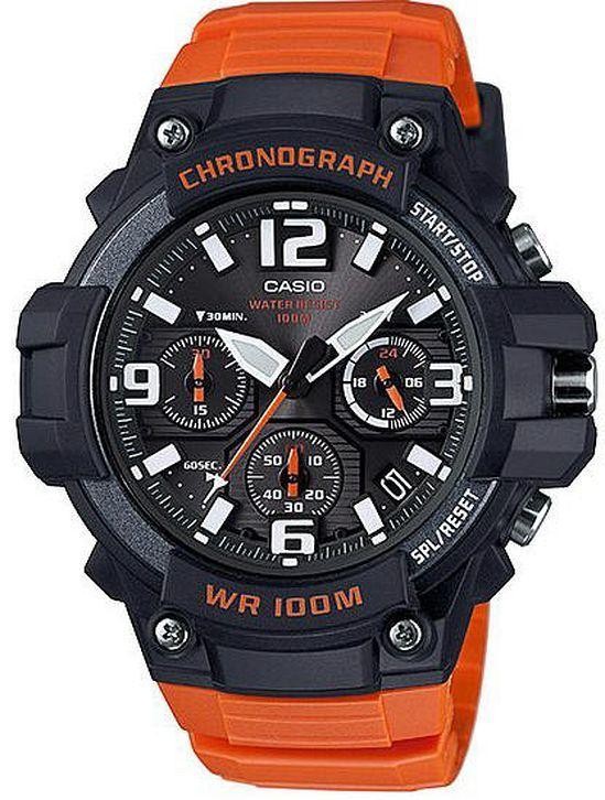 Men's Casio Black & Orange Chronograph Sports Watch MCW100H-4